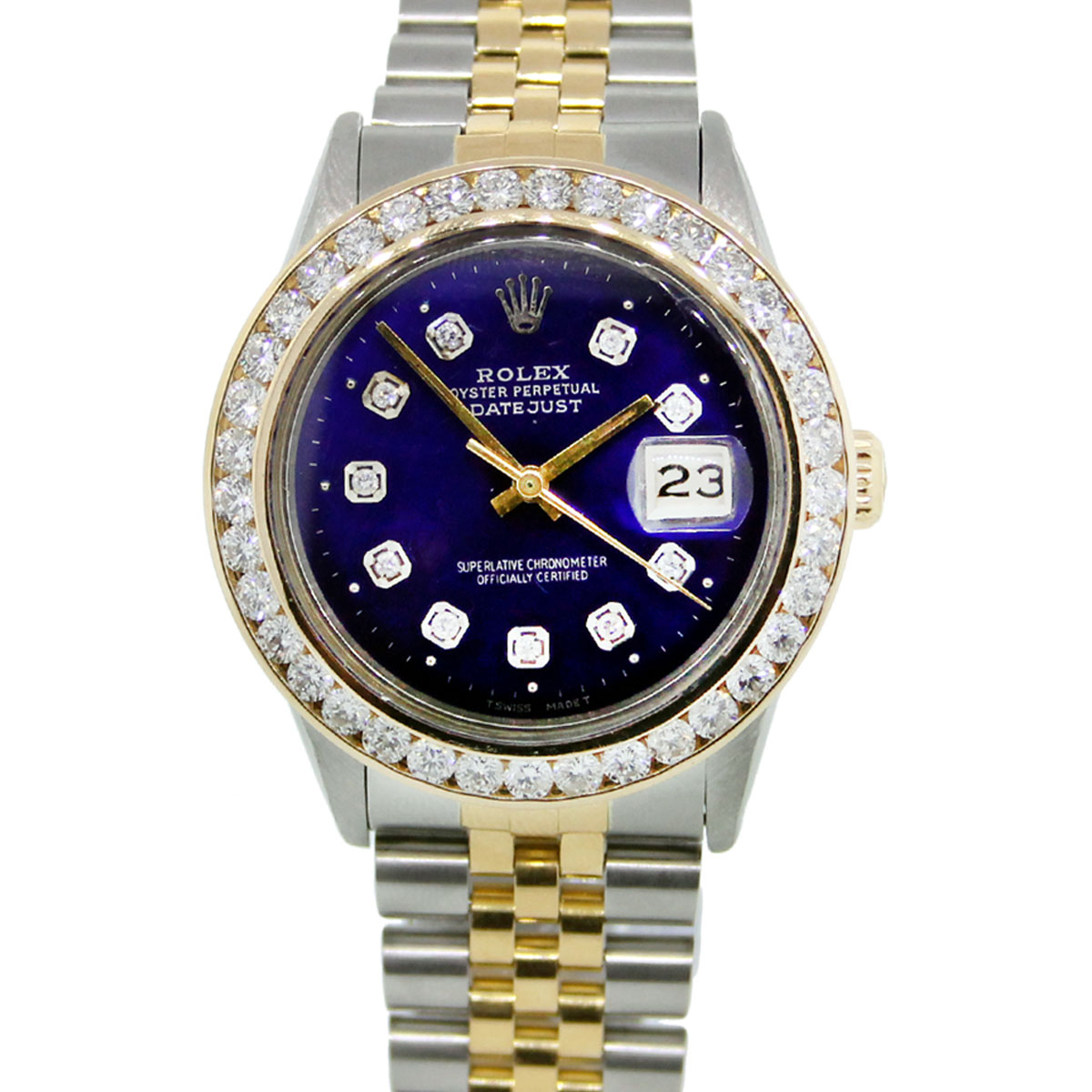 Rolex datejust 16013 blue diamond dial bezel watch for Diamond dial watch