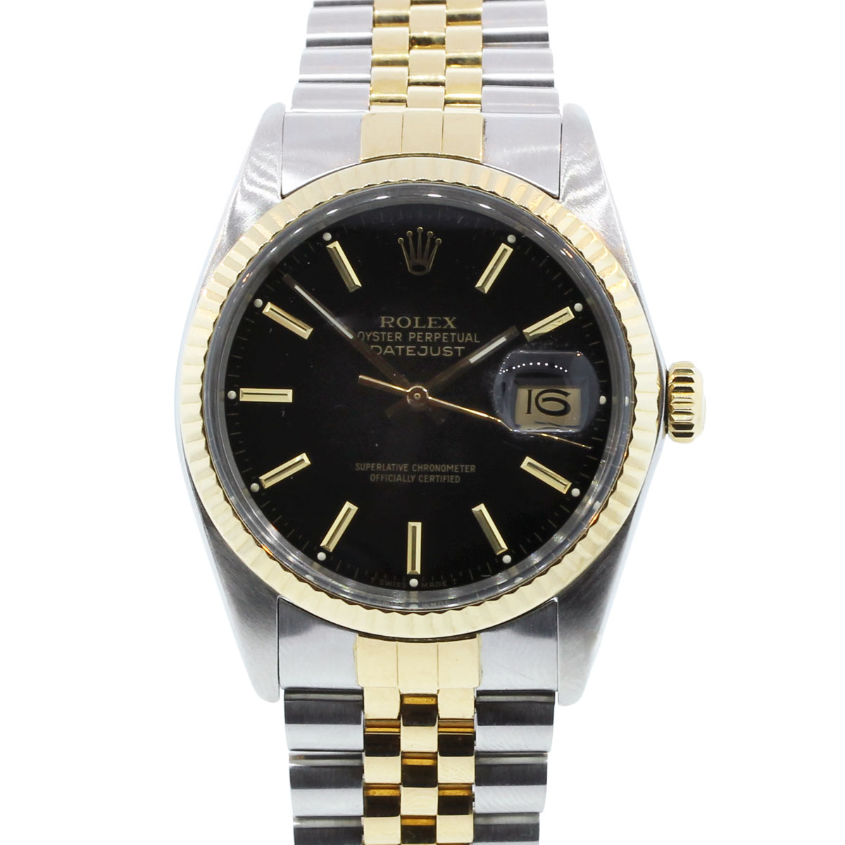 Rolex Datejust 16013 Black Dial Jubilee Two Tone Watch