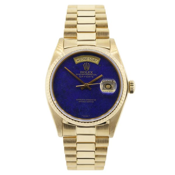 Rolex Day-Date 18038 Yellow Gold Lapis Dial Watch