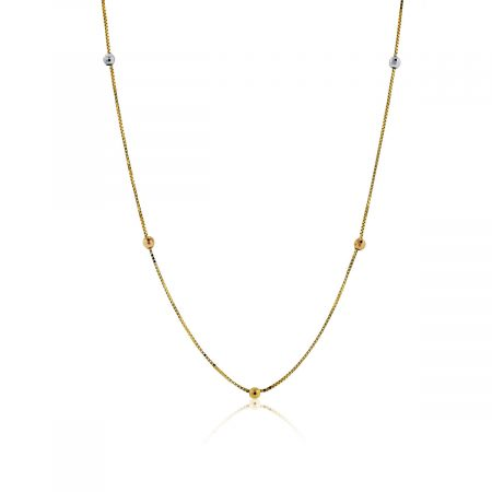 You are viewing this 14 Yellow Gold Chain With Tri-Colored Gold Beads