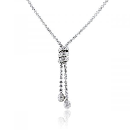 You are viewing this 18k White Gold 3ctw Diamond Lariat Necklace!