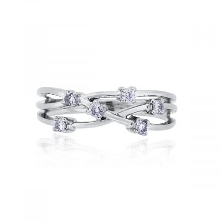 You are viewing this 14k White Gold 0.12ctw Diamond Crossover Ring!
