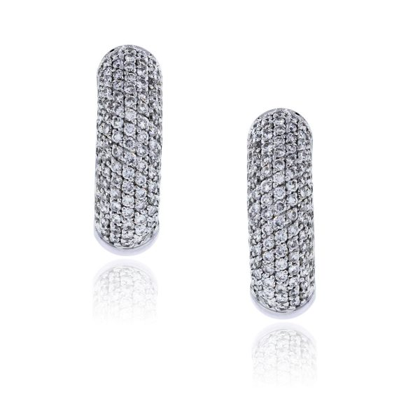 You are viewing these 18k White Gold 1ctw Diamond Huggie Earrings!