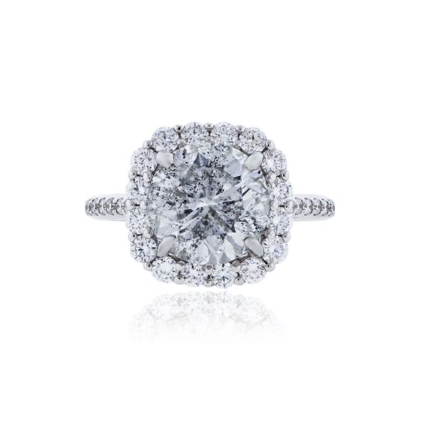 You are viewing this 14k White Gold 3.84ct Diamond Halo Engagement Ring!