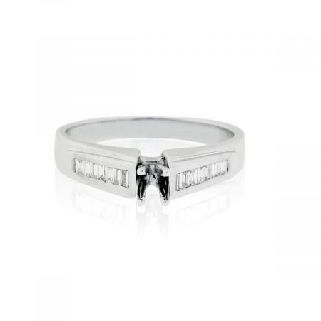 You are viewing this 18k White Gold 0.13ctw Baguette Diamond Ring Mounting