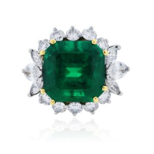You are viewing this Platinum & 14k Yellow Gold 8.52ct Emerald Diamond Ring!