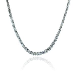 You are viewing this 14K White Gold 6.5ctw Diamond Tennis Necklace!