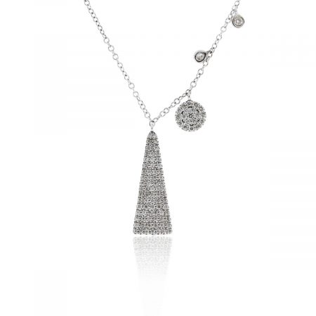 You are viewing this Meira T 14k White Gold .22ctw Diamond Pyramid Necklace!