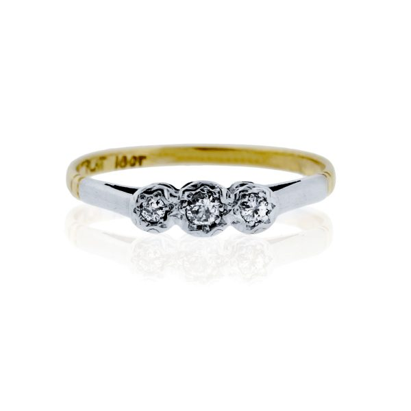 You are viewing this Old European Cut Diamond Platinum & Yellow Gold Ring