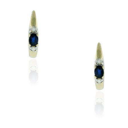 You are viewing these 10k Yellow Gold .08ctw Diamond & Sapphire Earrings!