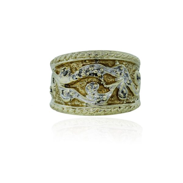 You are viewing this 10k White & Yellow Gold .05ctw Diamond Wide Ring!