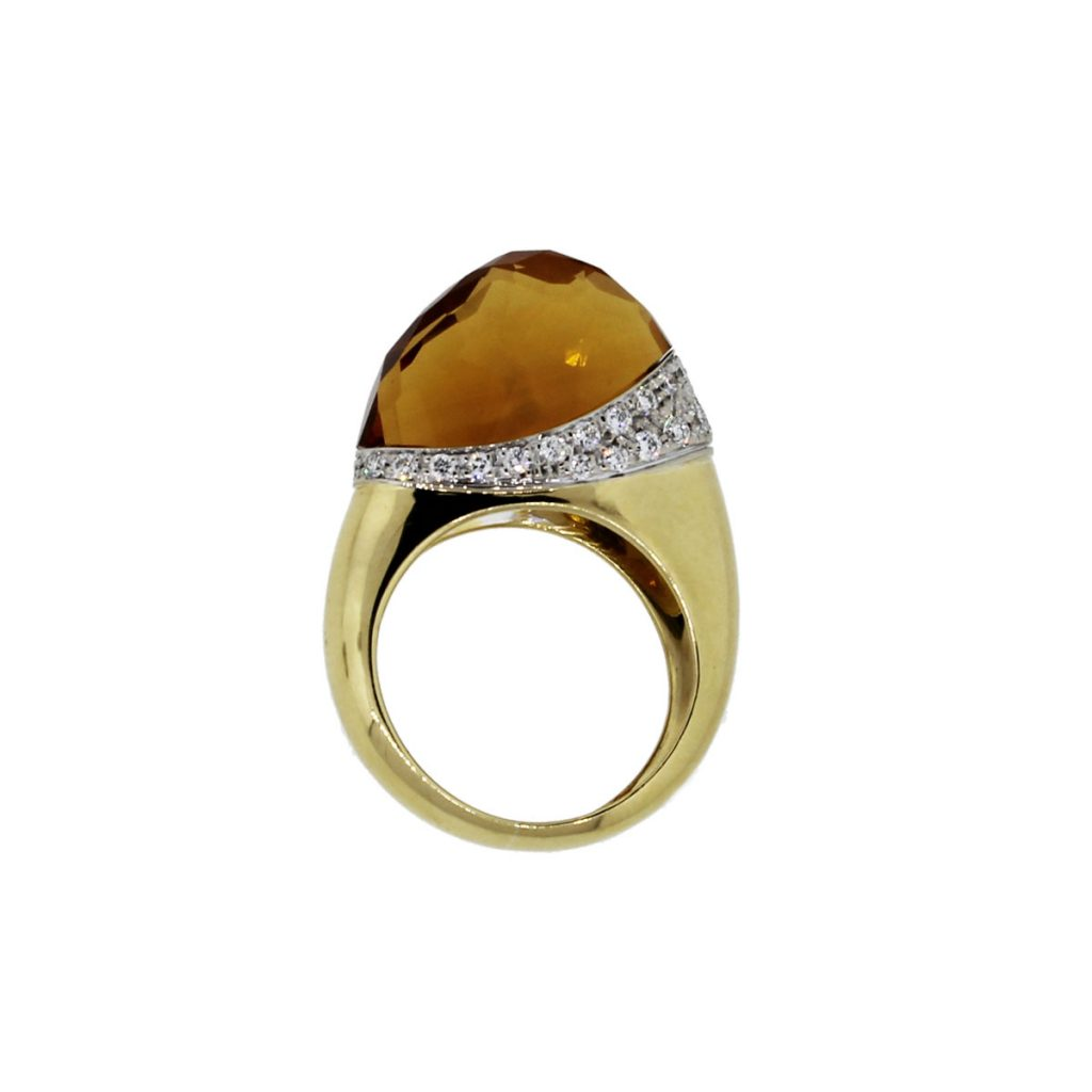 18k yellow gold citrine and cocktail ring