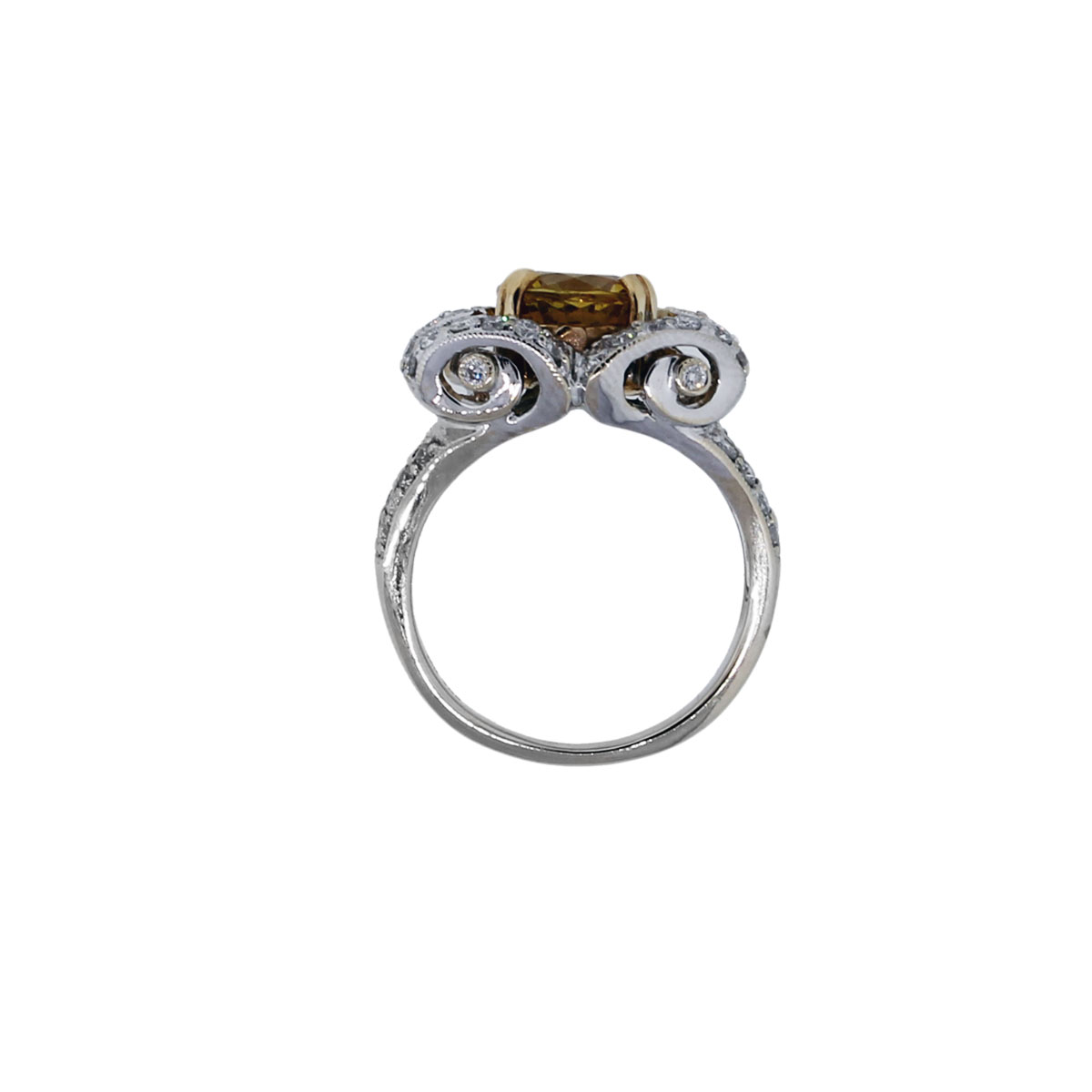 18k white gold yellow sapphire and ring