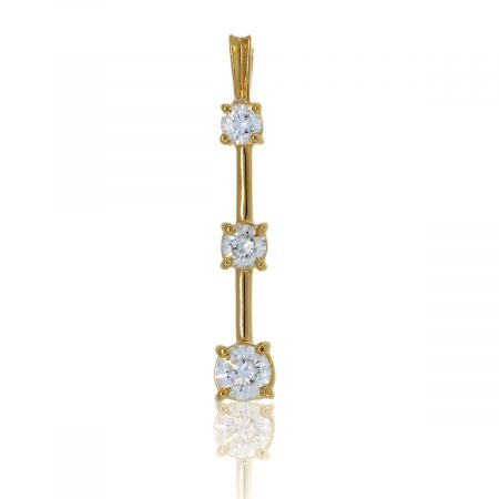 You are viewing this 14K Yellow Gold 3 Diamond Vertical Pendant