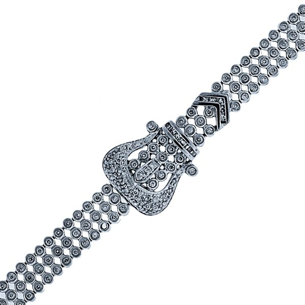 You are viewing this 14K White Gold Bezel Set Diamond Buckle Bracelet