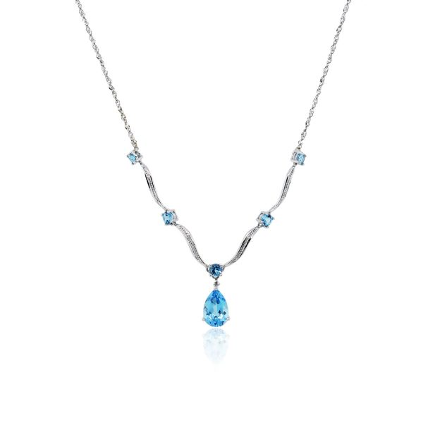 "You are viewing this 14k White Gold Blue Topaz and Diamond ""V"" Necklace!"