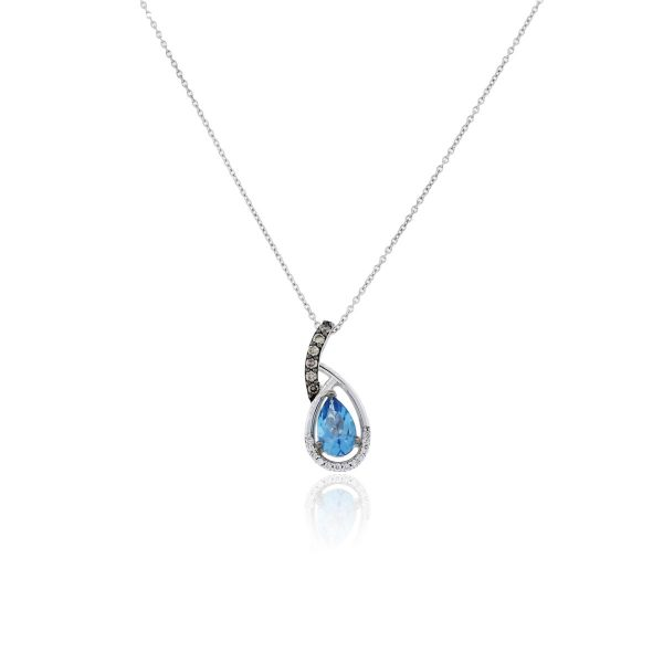 You are viewing this 14k White Gold Blue Topaz & 0.24ctw Diamond Necklace!