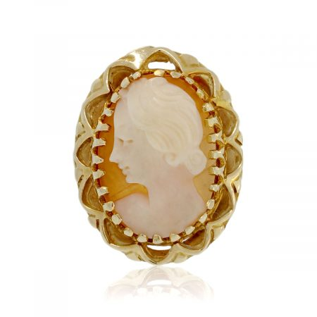 You are viewing this 14K Yellow Gold Carved Coral Cameo Ring