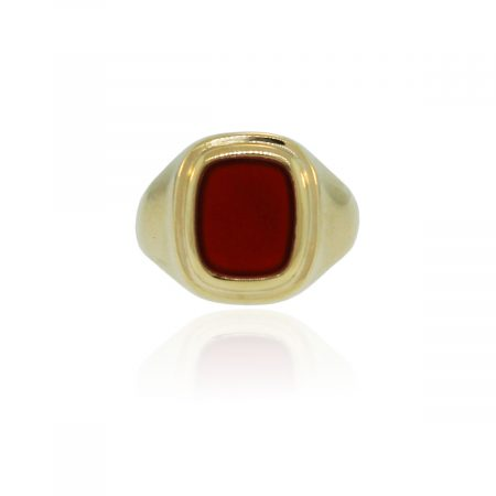 You are viewing this 18k Yellow Gold Carnelian Mens Ring!