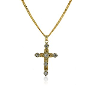 You are viewing this 14K Yellow Gold Diamond Cross Pendant on Chain