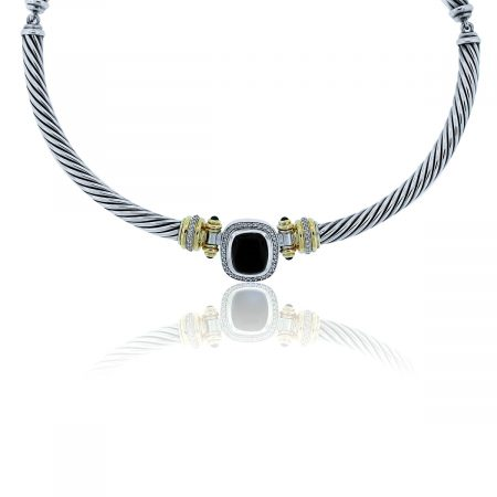 You are viewing this David Yurman Onyx and Diamond Albion Choker