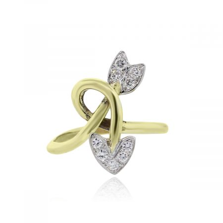 You are viewing this 14k Yellow Gold .27ctw Diamond Arrow Crossover Ring!