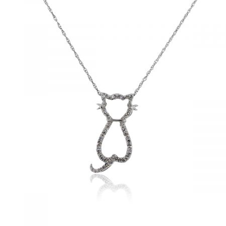 You are viewing this White Gold .15ctw Diamond Kitten Pendant Necklace!