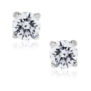 You are viewing these 14k White Gold 1ctw Round Diamond Stud Earrings!