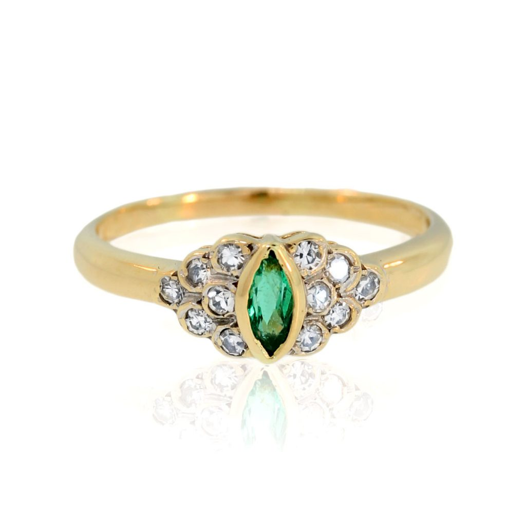14k yellow gold marquise cut emerald ring