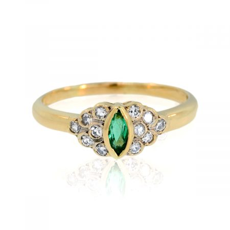 You are viewing this 14K Yellow Gold Marquise Cut Emerald & Diamond Ring