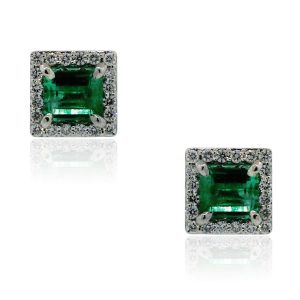 You are viewing these 18k White Gold 2.5ctw Emerald & .60ctw Diamond Earrings!
