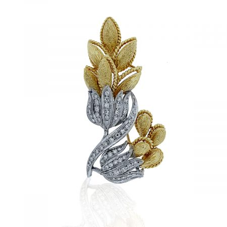 You are viewing this 18K Two-Tone Gold .64ctw Diamond Flower Pin