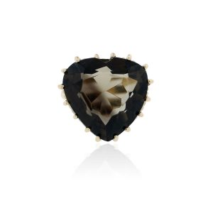 You are viewing this 14k Yellow Gold Large Smokey Quartz Heart Ring!