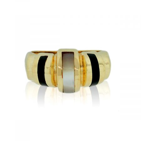 You are viewing this 14K Yellow Gold Mother Of Pearl & Onyx Inlay Ring