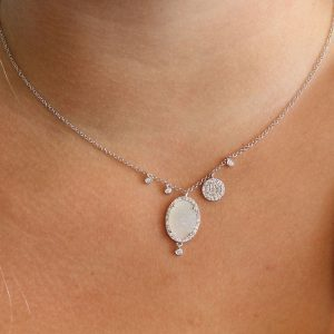 Delicate off centered charms and white druzy by Meira T