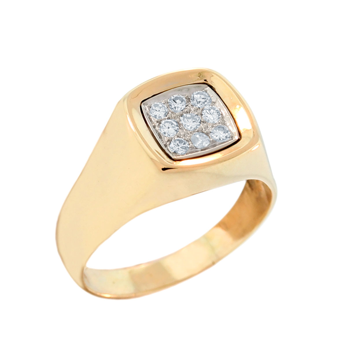 14K Yellow Gold Diamond Mens Ring