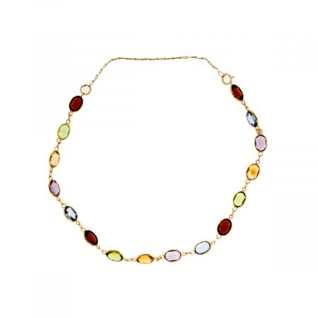 You are viewing this 14K Yellow Gold Multi-Color Gemstone Bracelet