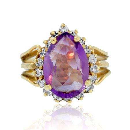 You are viewing this 10K Yellow Gold Pear Shaped Amethyst & Diamond Ring