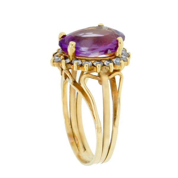Yellow Gold Pear Shaped Amethyst & Diamond Ring