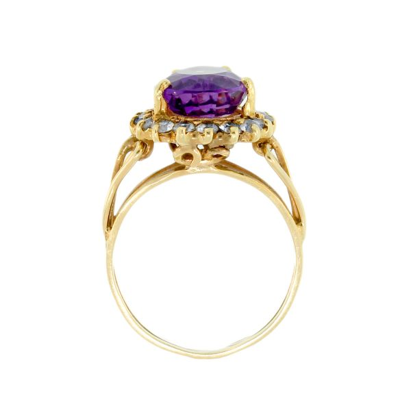 10K Yellow Gold Pear Shaped Amethyst Ring