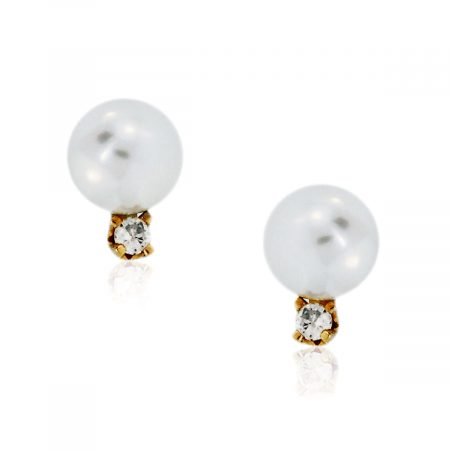 You are viewing this 14K Yellow Gold .05ctw Diamond & Pearl Stud Earrings