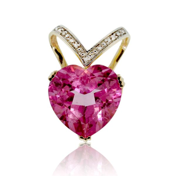 You are viewing this 14K Two-tone Pink CZ Heart & Diamond Pendant