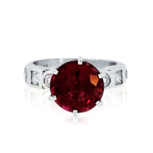 You are viewing this 14K White Gold Pink Tourmaline & Diamond Ring