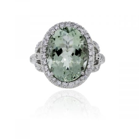You are viewing this 14k White Gold Oval Prasiolite .73ctw Diamond Ring!