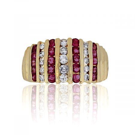 You are viewing this 14K Yellow Gold Multi Row Ruby & Diamond Ring