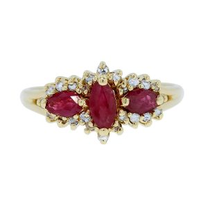 You are viewing this 10K Yellow Gold Marquise Cut Ruby & Diamond Ring