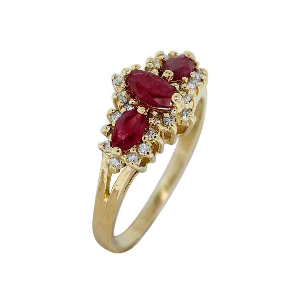 10k yellow gold marquise cut ruby ring