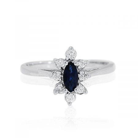 You are viewing this 14K White Gold Blue Sapphire & Diamond Ring