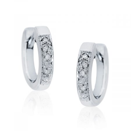 You are viewing this 14K White Gold .06ctw Diamond Huggie Earrings