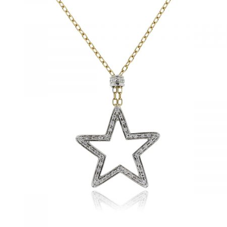 You are viewing this 18k Two Tone .70ctw Diamond Star Pendant Necklace!